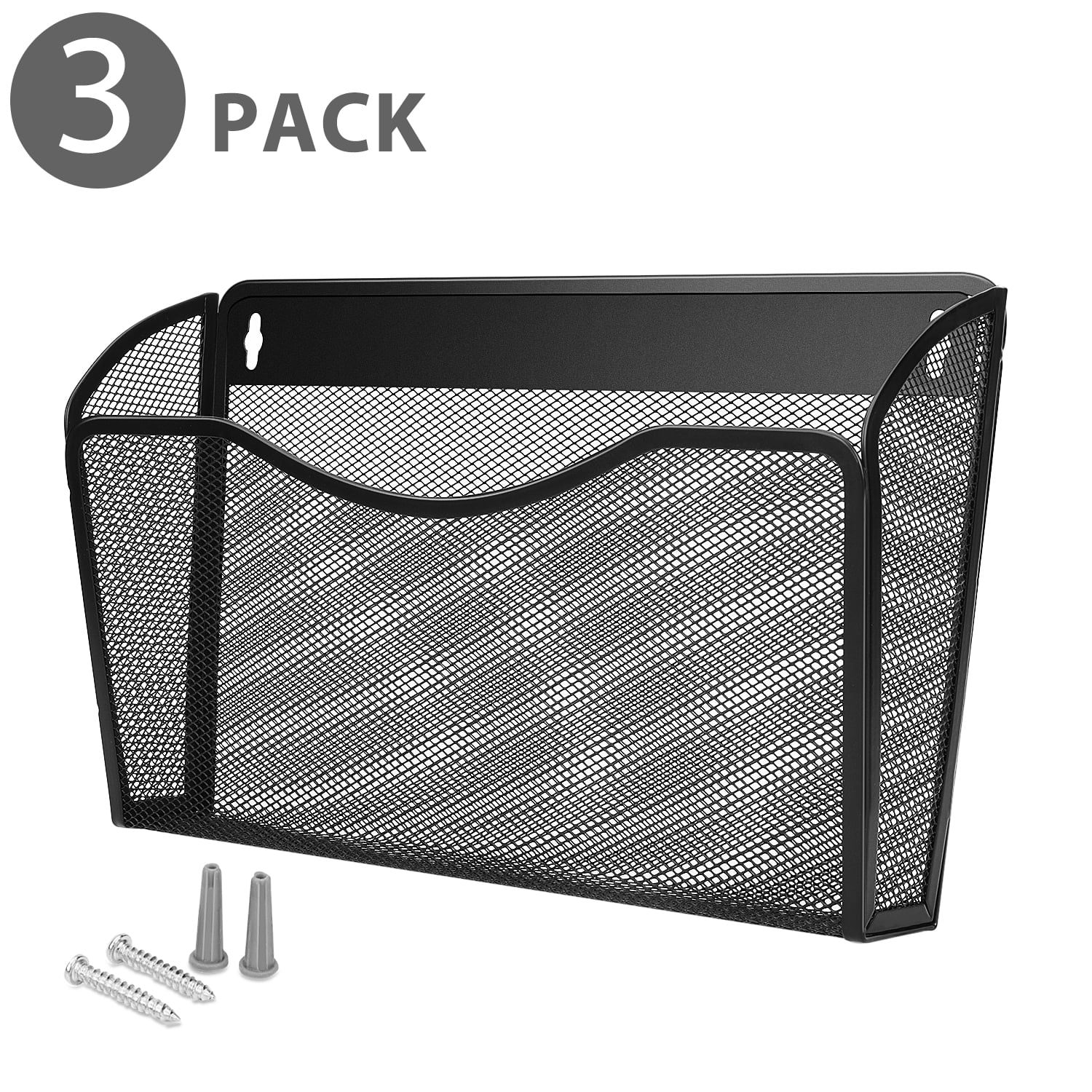 Wall Mail Organizer Paper File Letter Size Pocket Holder Metal Mesh Hanging Storage Basket Rack Single Slot Wall Mount Document Box For Office Home Classroom Black 3 Pack Walmart Com