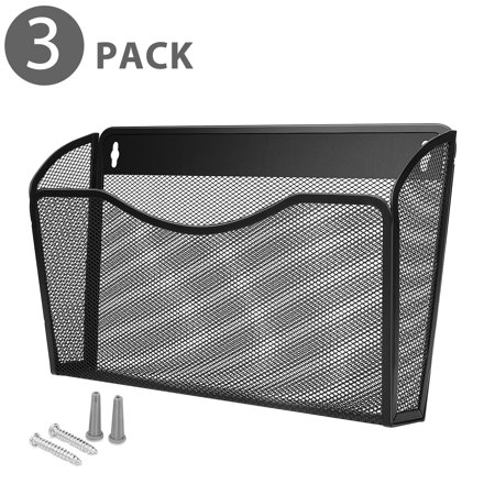 Wall Mail Organizer Paper File Letter Size Pocket Holder Metal Mesh Hanging Storage Basket Rack Single Slot Wall Mount Document Box for Office Home & Classroom - Black (3 Pack)