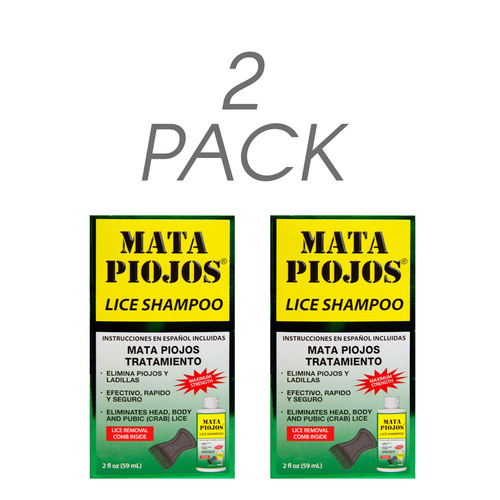 Mata Piojos Lice Shampoo + Free Lice Removal Comb 2 FO, Low Foaming Shampoo Maximum Strength. Pack of 2