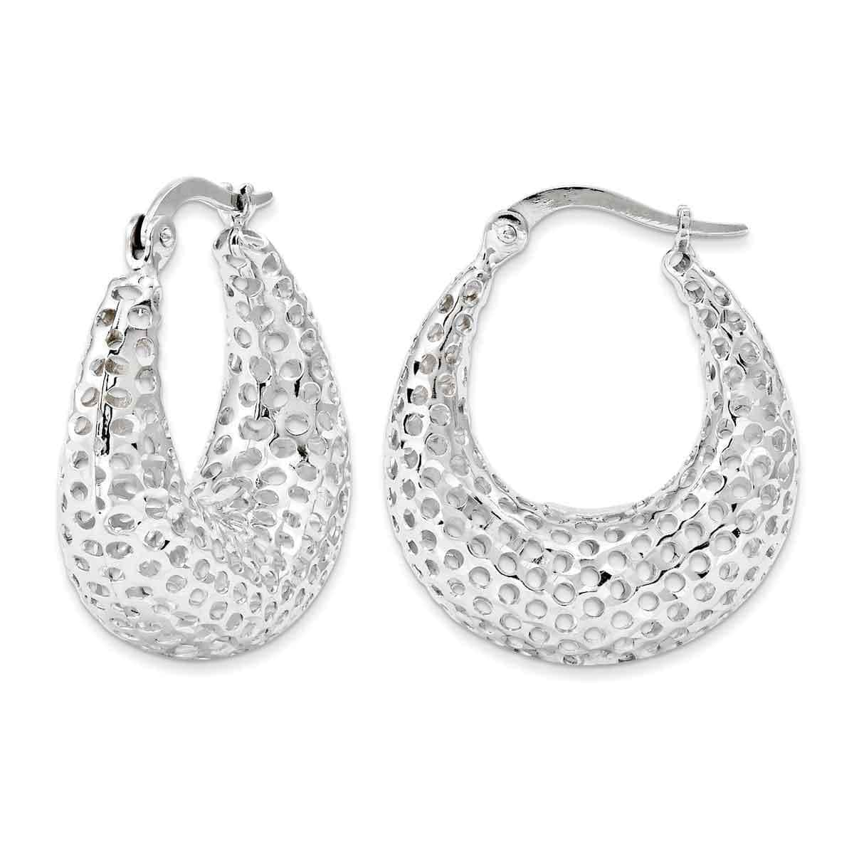 Versil 14 Karat White Gold Mesh Oval Hoops
