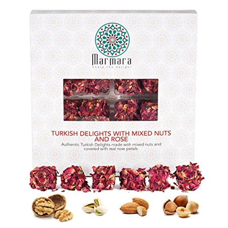 Turkish Delights with Mix Nuts and Real Rose Marmara Gourmet Sweet Confectionery Box Candy Dessert Extra Large 1 pound