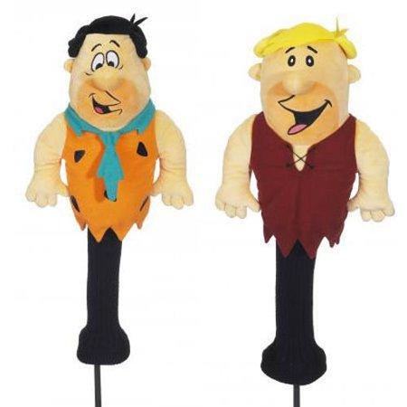 2pc Golf Head Cover Fred Flintstone Barney Rubble 460cc Driver Wood Headcovers - Barney Flintstones
