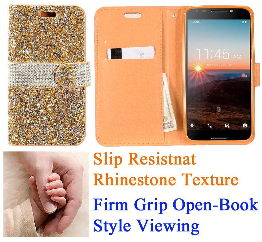 "for 5.5"" Alcatel A30 + PLUS A30 FIERCE Case Phone Case Diamond Wallet Grip Texture Stand Pouch Purse Screen Flip Cover Blush Pink"