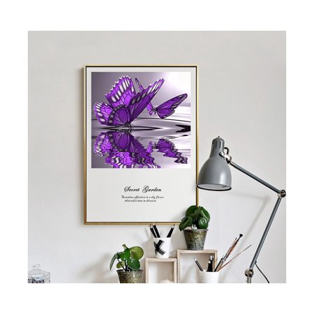 outdoorline 5D Diy Crystal Diamond Painting Purple Butterfly On The Water Round Rhinestone Handcraft Cross Stitch Room Decoration - image 8 of 9