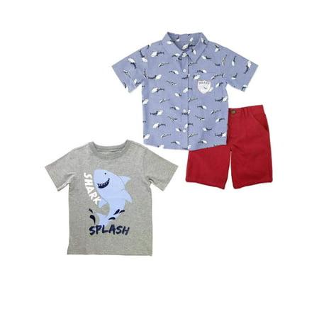 Little Rebels Toddler Boys Blue Shark Bait Splash Baby Outfit Red Shorts Set 4T](Shark Shorts)