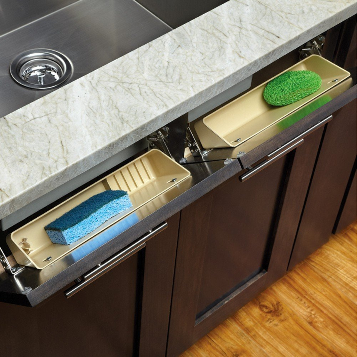 Rev-A-Shelf  Almond Tip-Out Tray, 14 Inch, Polymer 2 Tray Set with Hinges