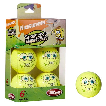 Wilson SpongeBob Yellow Golf Balls, 6 pack