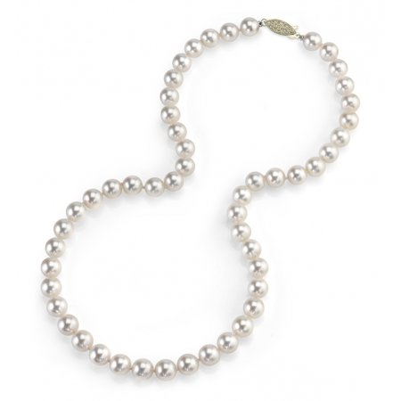 - 14K Gold 7.5-8.0mm Japanese Akoya Saltwater White Cultured Pearl Necklace - AA+ Quality, 24