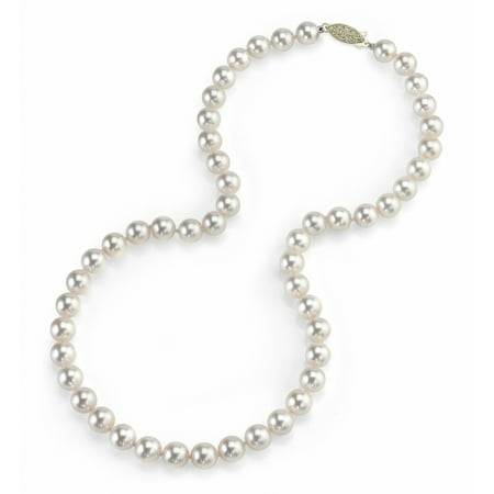"""14K Gold 5.5-6.0mm Japanese Akoya Saltwater White Cultured Pearl Necklace - AAA Quality, 18"""" Princess Length"""
