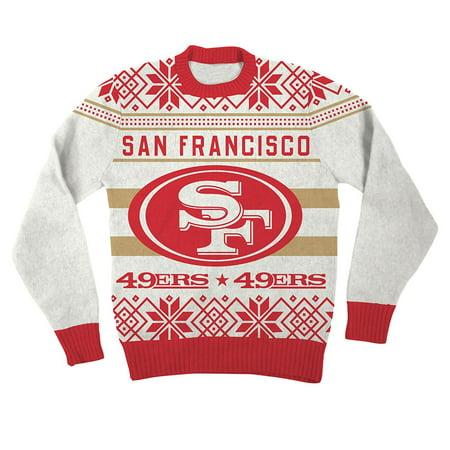 Nfl San Francisco 49ers Logo Adult Red Football Ugly Christmas