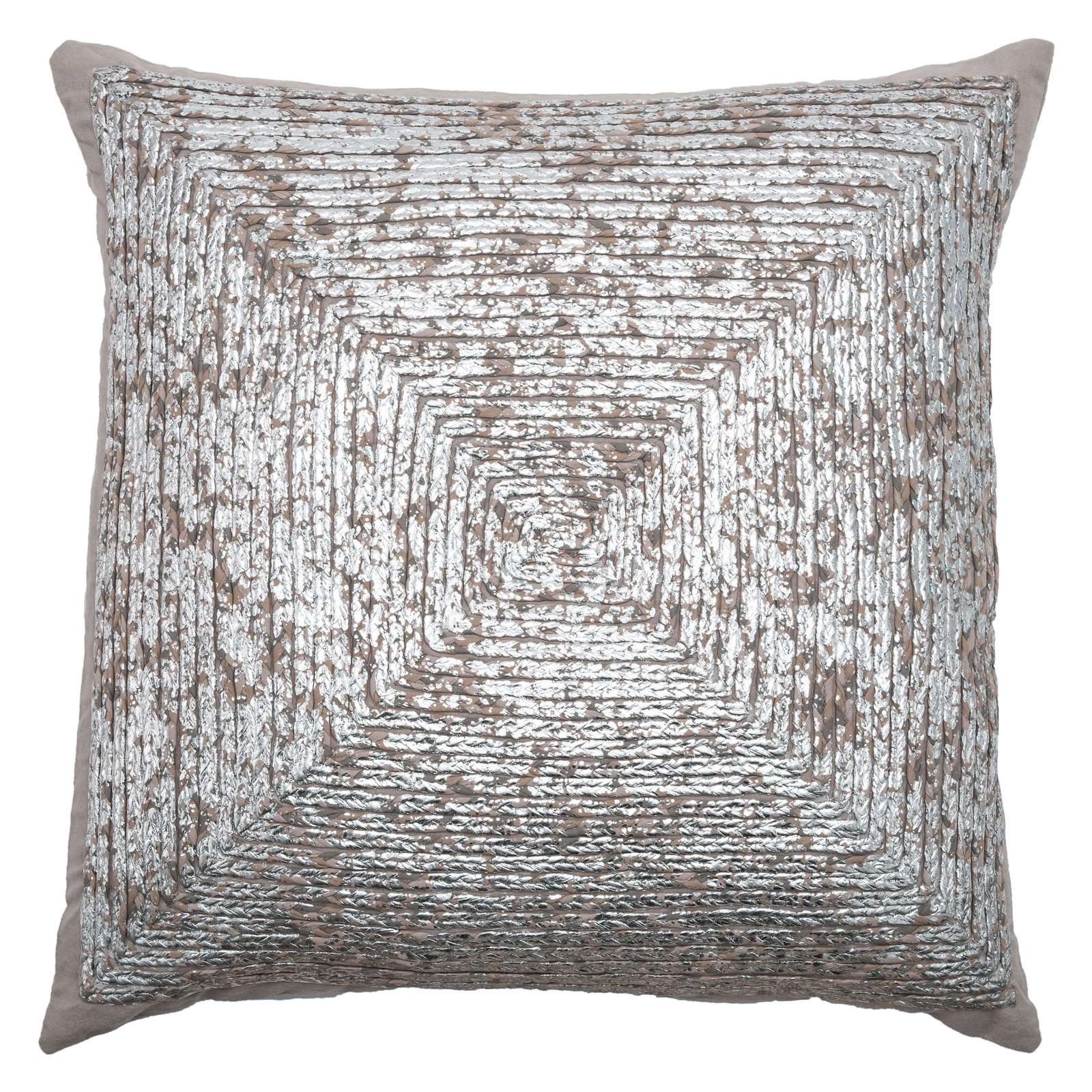 "Rizzy Home Decorative Poly Filled Throw Pillow Square 20""X20"" Silver"
