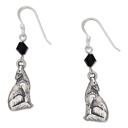 STERLING SILVER HOWLING WOLF EARRINGS WITH BLACK SWAROVSKI