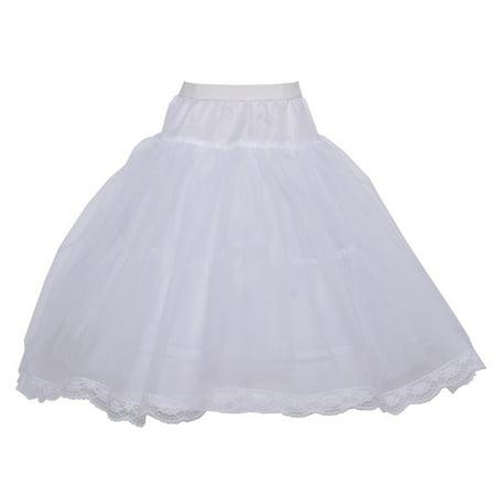 Angels Garment Girls White Trimmed Tulle Hoop Skirt Long Petticoat 6-10