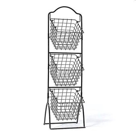 3 Tier Metal Basket Stand Quality Wire Bread Display Rack Fruit Storage Organizer for Market Store Office Home Kitchen Antique Black ()