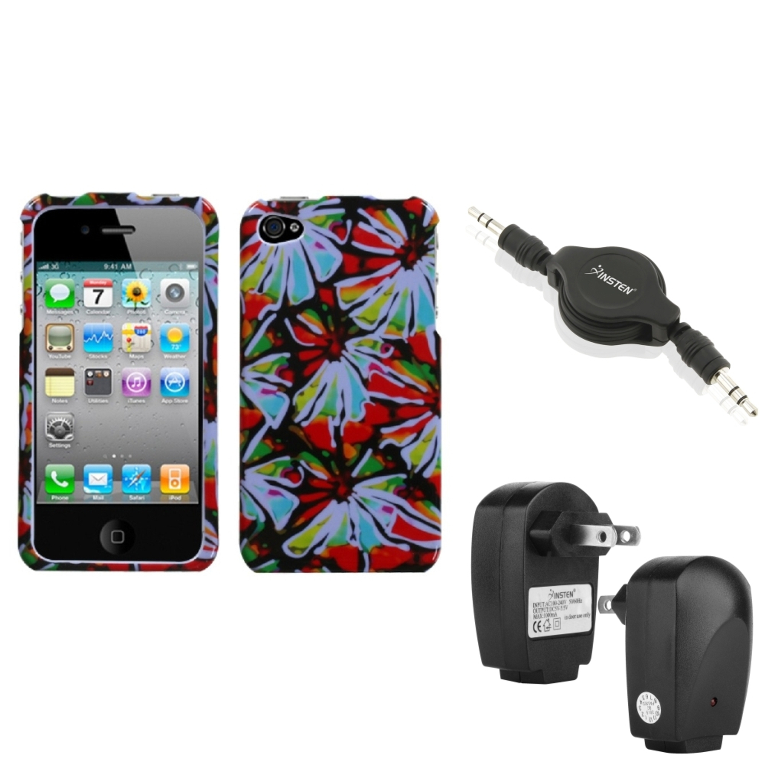 Insten Wall Charger Audio Cable Flower Power Phone Case Cover For APPLE iPhone 4S/4