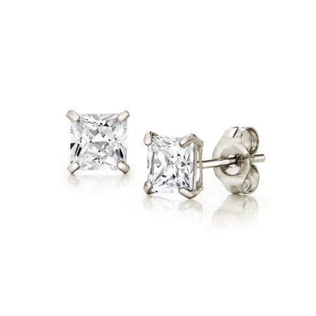Jewelers 14K White Gold 3MM Princess-Cut Stud Earrings made with Crystals Swarovski BOXED ()