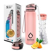 BOTTLERIX Water Bottle with Motivational Time Marker - Flip Top Leak Proof Lid - Drinking for Camping Sports Workouts and Outdoor Activity - 32 oz (Rose Gold)