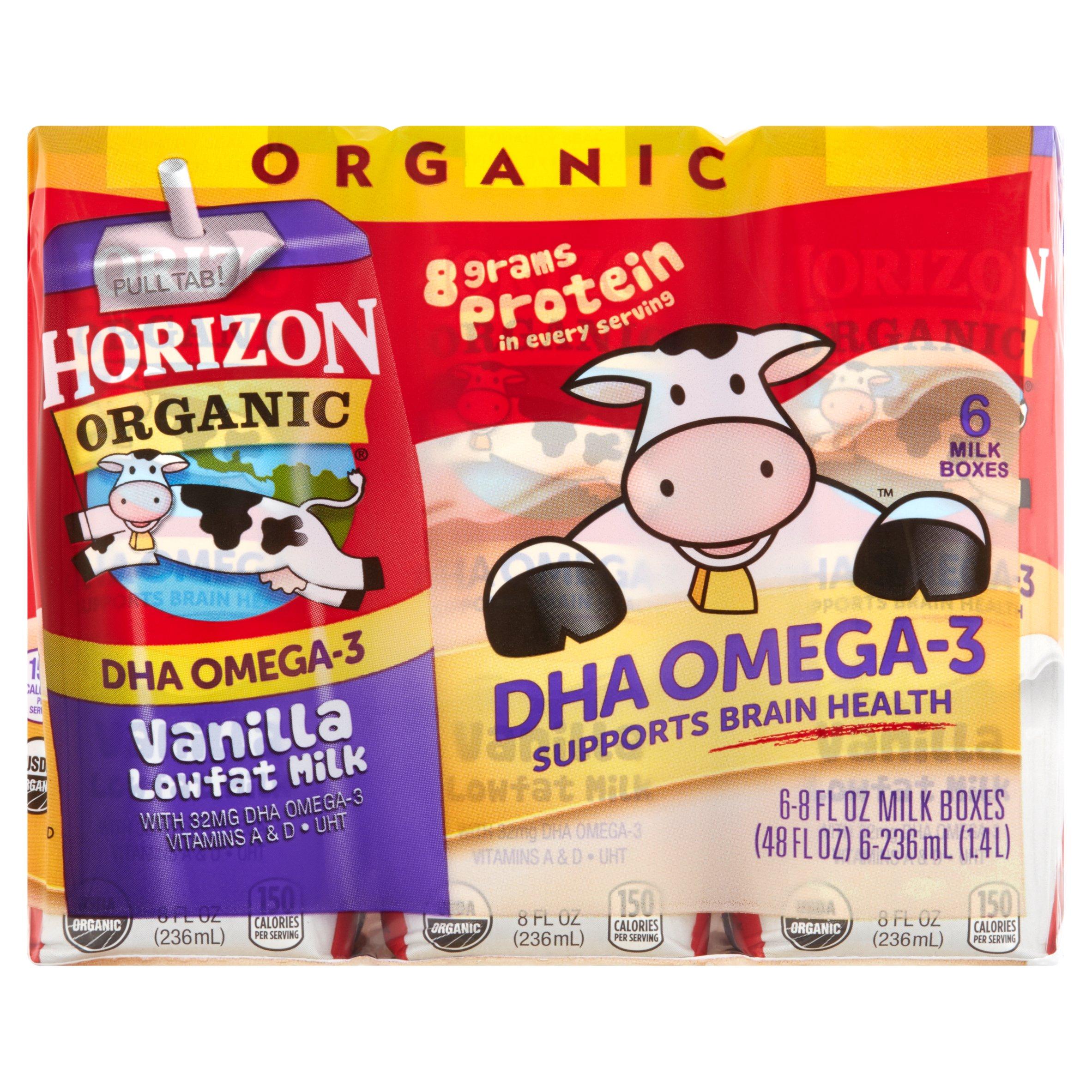 Horizon Organic Omega-3 Vanilla Lowfat Milk, 8 fl oz, 6 Ct