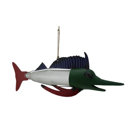 Colorful Bottle Fish Metal and Glass Art Table or Hanging Sculpture
