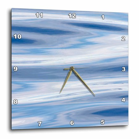 - 3dRose Waves reflecting sky in blue, grey and silver. Greenland, Denmark - Wall Clock, 15 by 15-inch