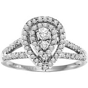 Hibiscus 1/2 Carat T.W. Certified Diamond 10kt White Gold Engagement Ring