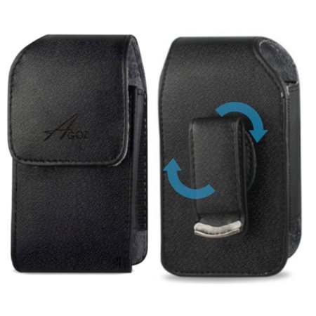 Agoz Vertical Leather Carrying Case Cover Pouch for Garmin Approach G8, G7, G6 Golf GPS with Swivel Belt Clip and Magnetic Closure
