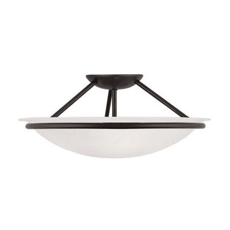 Semi Flush Mounts 3 Light With White Alabaster Glass Black size 16 in 225 Watts - World of Crystal