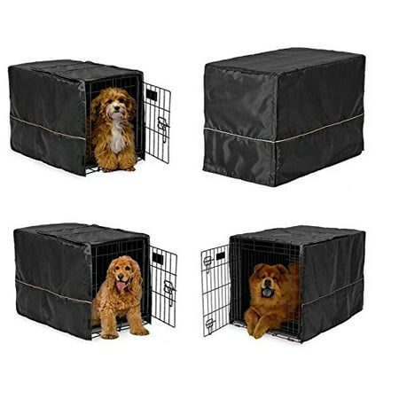 Black Opaque Dog Crate Cover Selections - Quiet Night Time Den Like Security(Small 22