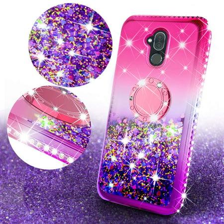 Alcatel 7 / Tmobile Revvl Plus 2 Case Bling Diamond Bumper Ring Stand Sparkly Luxury Clear Glitter Cute Phone Case Girls with Kickstand for Alcatel 7/Revvl Plus 2 Girl Women (Hot Pink) - Cave Women