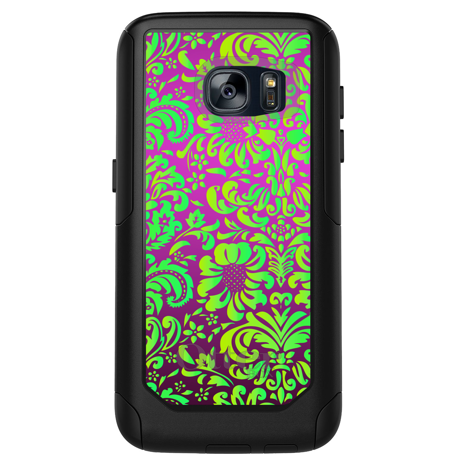 DistinctInk™ Custom Black OtterBox Commuter Series Case for Samsung Galaxy S7 - Purple Green Floral Pattern