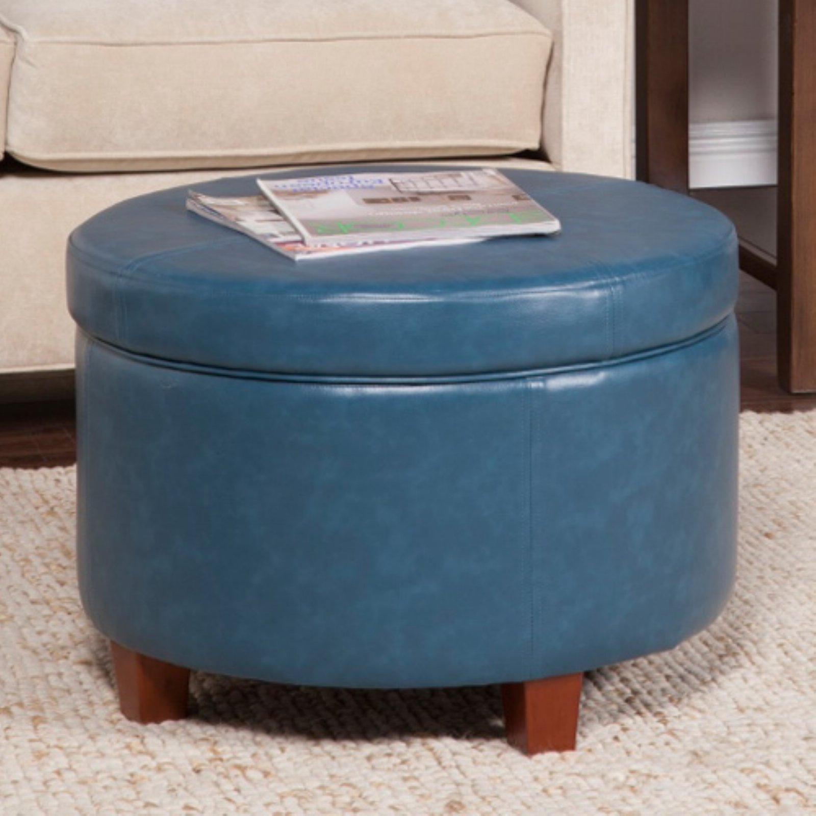 HomePop Large Leatherette Storage Ottoman