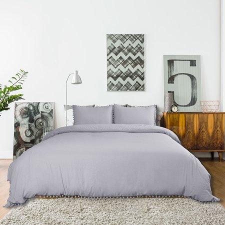 Pompons Duvet Cover and Sham Set King Size Bedding Soft Washed Cotton, Gray - image 4 de 8