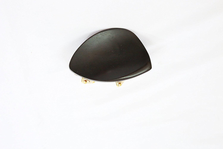 4 4 Violin Ebony Kaufman Style Chin Rest with Golden Plated Hill Bracket, Polished Ebony... by