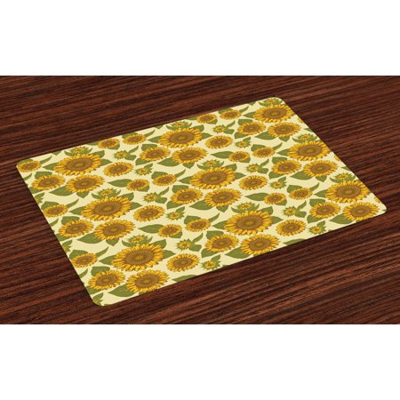 Sunflower Placemats Set of 4 Funky Style Sunflower in Pastel Colors Old Fashioned Nostalgic Vintage Print, Washable Fabric Place Mats for Dining Room Kitchen Table Decor,Green Yellow, by Ambesonne ()