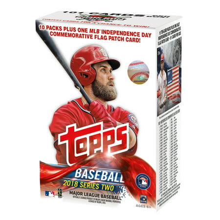 - 2018 Topps Baseball Series 2 Value Blaster Box Trading Cards (10 Packs/10 Cards: 1 MLB Independence Day USA Flag Patch, 5 Future Stars and 2 Legends in the Making Inserts)