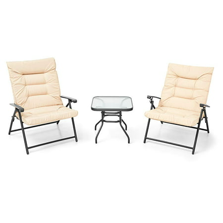 SUNCROWN Patio Padded Folding 3 Pieces Chair Set Adjustable Reclining Outdoor Furniture Metal Sling Chair w/Coffee Table ()