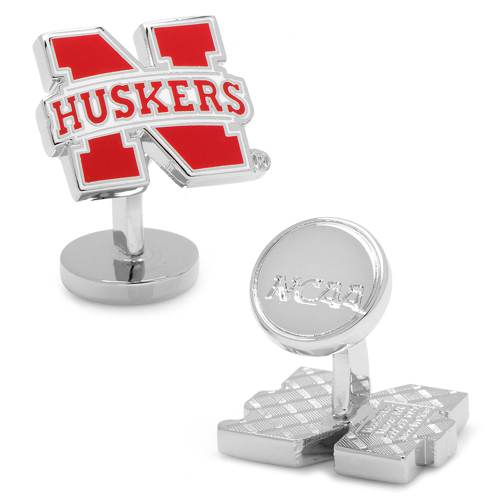 NCAA Mens Silver-Tone Metal University of Nebraska Cornhuskers Wedding Cufflinks
