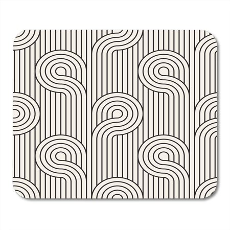 SIDONKU Carpet Black Graphic Modern Stylish Geometric Striped Monochrome Linear Loops Abstract Creative Mousepad Mouse Pad Mouse Mat 9x10 inch