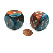 Chessex Gemini 30mm Large D6 Dice, 2 Pieces - Copper-Teal with Silver Pips #DG3053