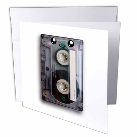 3dRose Cute happy cassette tape - retro music 80s eighties 90s - kawaii smiley face - smiling sweet cartoon, Greeting Cards, 6 x 6 inches, set of 6