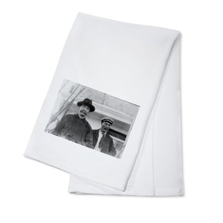 Bartlett and Peary in Ship in Labrador Photograph (100% Cotton Kitchen Towel)