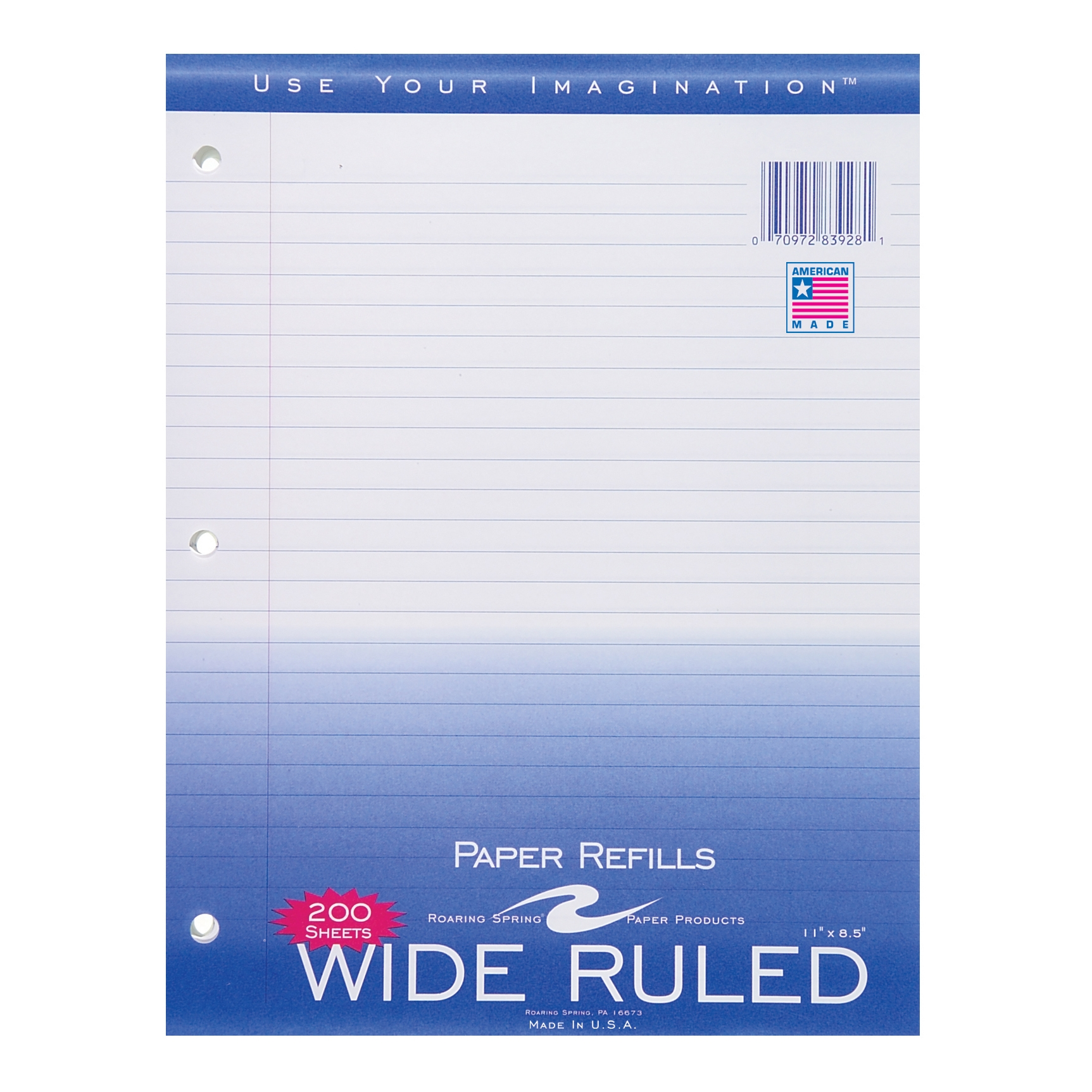 "FILLER PAPER 8.5""x11"" WIDE RULED WITH MARGIN"