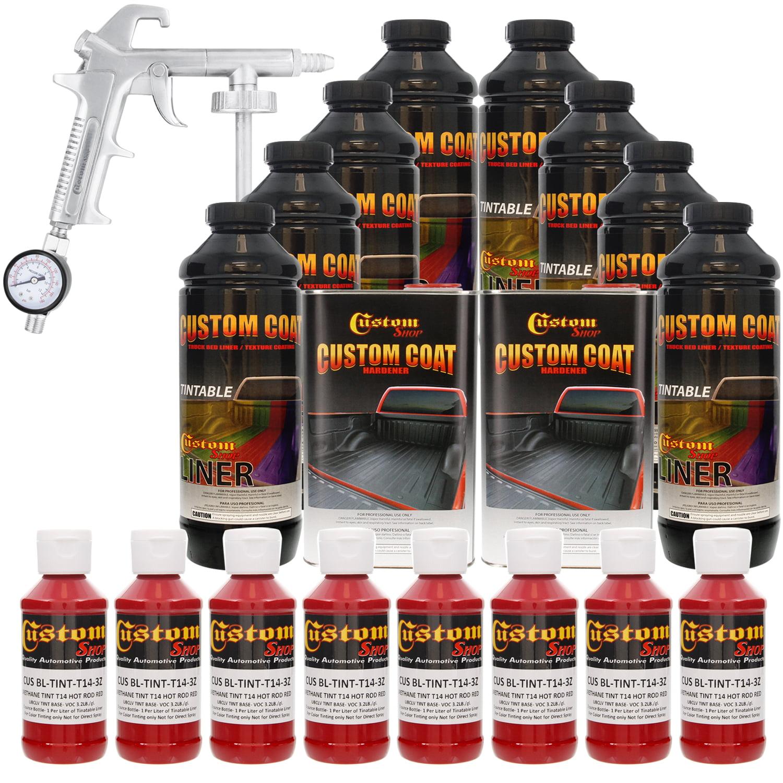 Bed Liner CUSTOM COAT HOT ROD RED 8-L Urethane Spray-On Truck Kit w/ Spray Gun