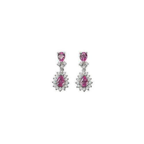 Fine Jewelry Vault SCAB136PS Pink Sapphire and Diamond Earrings - 14K White Gold - 2. 00 CT TGW