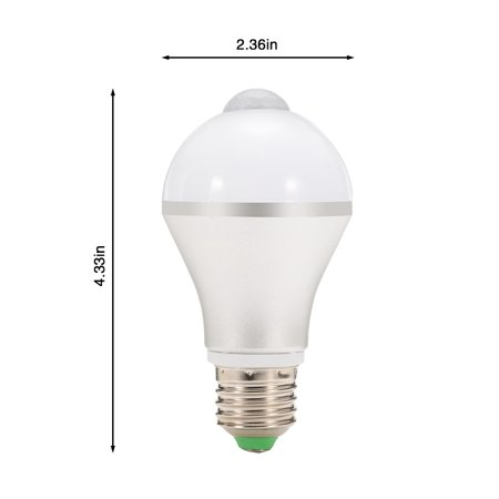 E26 7W LED Motion Sensor Light Bulb, Cold White Auto On/Off Night Light for Corridor Stairs Garage Hallway - image 3 de 6