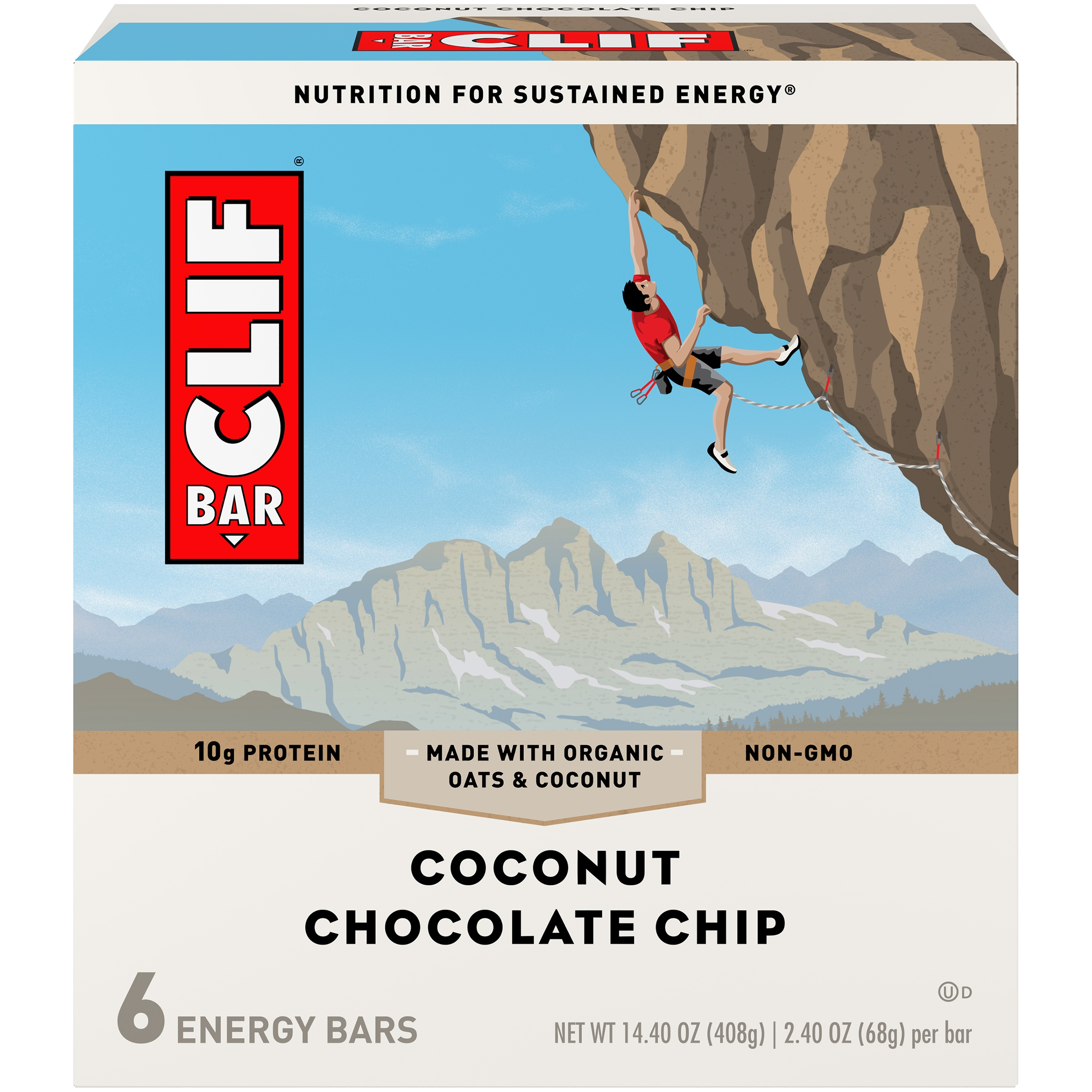 Clif Energy Bar, Coconut Chocolate Chip, 10g Protein, 6 Ct