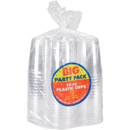 Big Party Pack Plastic Cups, 10oz - 72/Pkg
