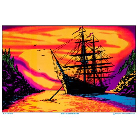 Sunset Bay Ship Black Light Poster 35 x 23](Halloween Black Light Posters)