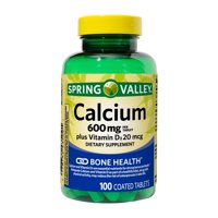 Spring Valley Calcium 600 mg plus Vitamin D3 20 mcg Coated Tablets, 100 Count