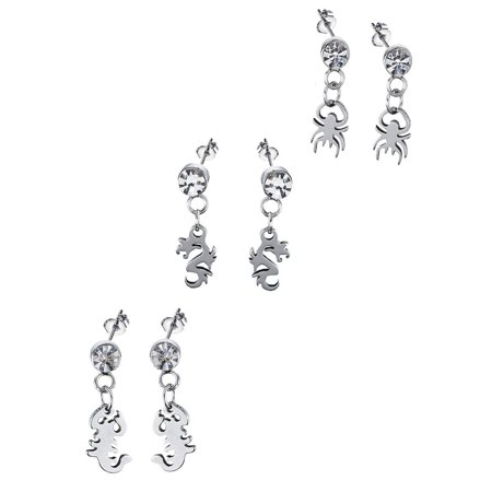 JADA Collections Silver Tone Stainless Steel Unisex Stud Earrings Set with Dangle Charm, Heavy Metal Trio (3- Pairs)